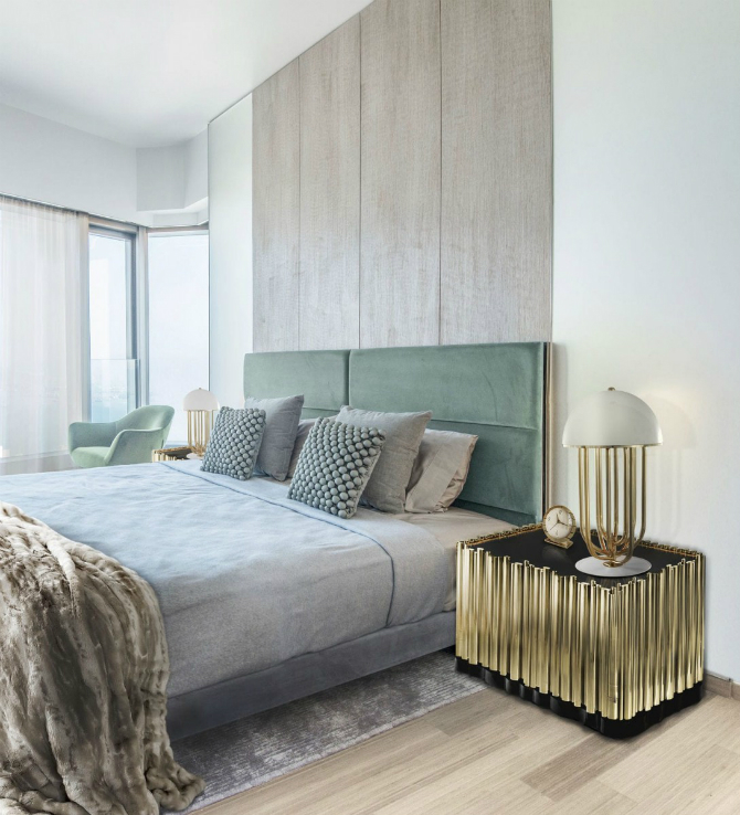 Sympnhony Nightstand by Boca do Lobo looks just perfect in this vernil bedroom design set. spring decor 10 Spring Decor Ideas for the Master Bedroom 2 4
