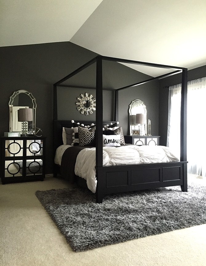 Black design inspiration for a master bedroom decor for Bedroom remodel inspiration
