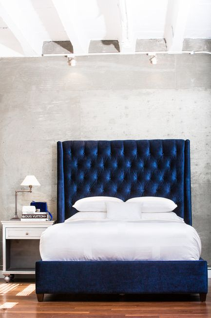 50 Beautiful Bedroom Designs Found on Pinterest beautiful bedroom designs 50 Beautiful Bedroom Designs Found on Pinterest Stunning tufted deep blue velvet headboard 1