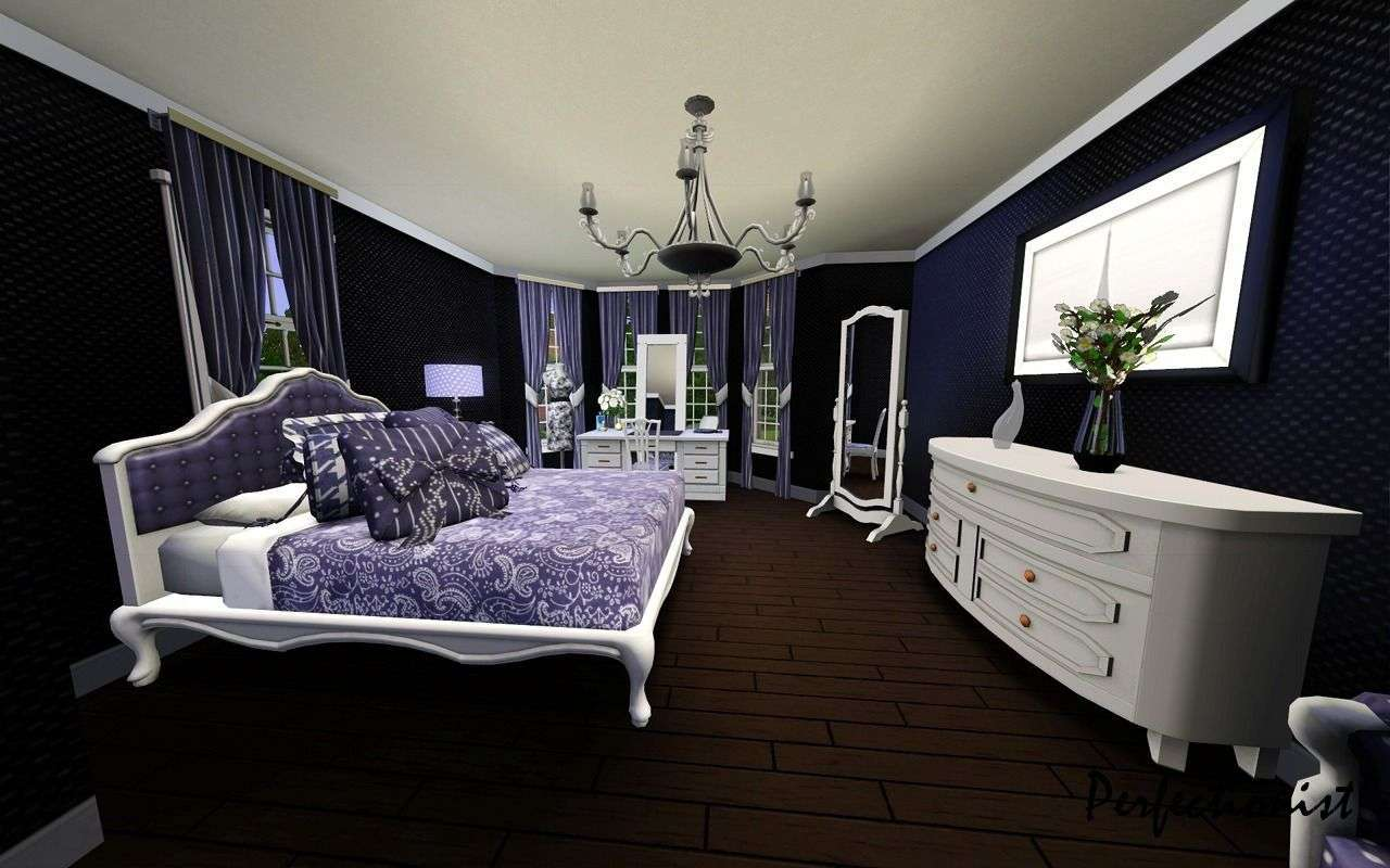 check out the designs of the white black and purple bedrooms