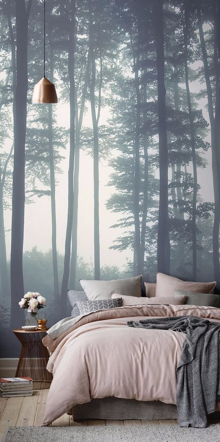 master bedroom Whimsical Master Bedrooms with Forest Wallpaper 336818 700644