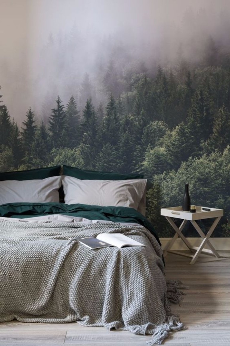 master bedroom Whimsical Master Bedrooms with Forest Wallpaper 9804ee009edc764d64b9fab9e9adde81