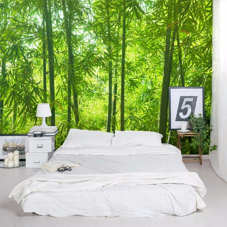 Whimsical Master Bedrooms With Forest Wallpaper