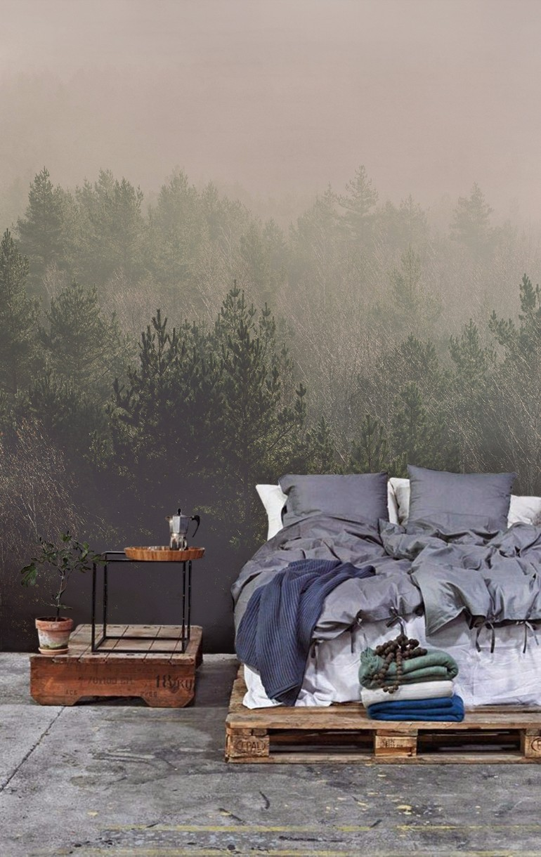 Whimsical Master Bedrooms with Forest Wallpaper – Master Bedroom Ideas