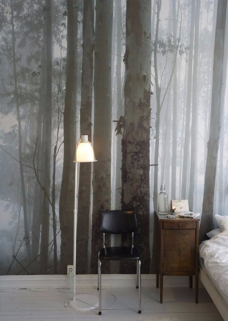 master bedroom Whimsical Master Bedrooms with Forest Wallpaper fc69ccf824d90e06dd910f260fe7a169