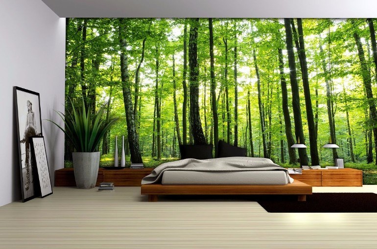 Whimsical Master Bedrooms With Forest Wallpaper Master Bedroom Ideas