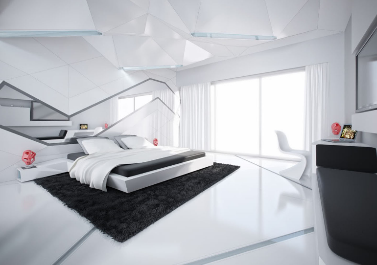master bedroom 13 Master Bedroom Designs Straight From the Future siyah beyaz ev konseptleri son2