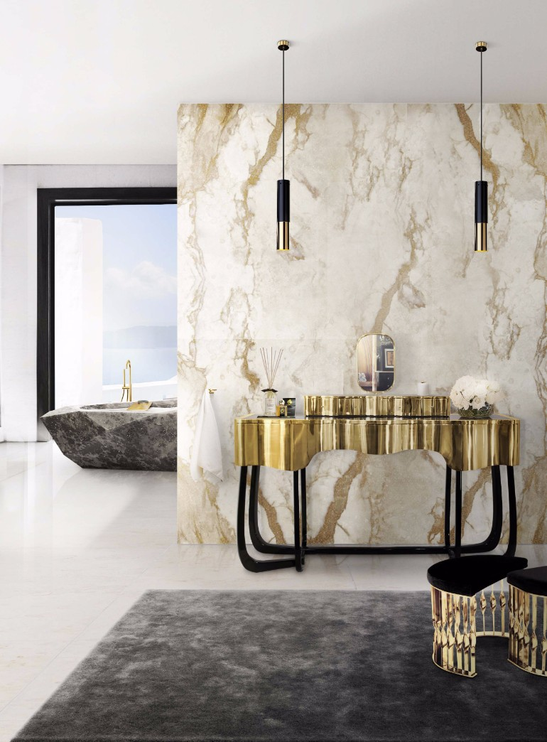master bathroom Glaring Master Bathrooms for the Contemporary Home 11 sinuous dressing table mandy stool diamond bathtub maison valentina HR 1