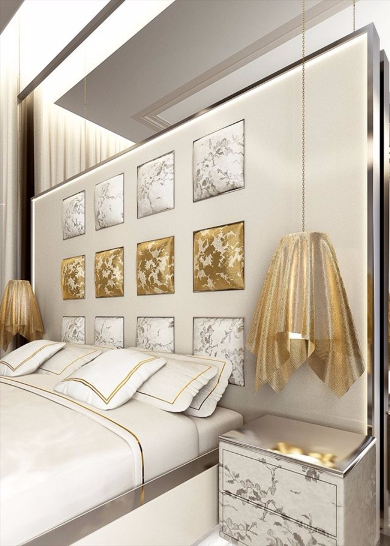 master bedroom Stunning Master Bedrooms with Gold Accents 2a3bcc294faab9ebf0316efde8d050b5