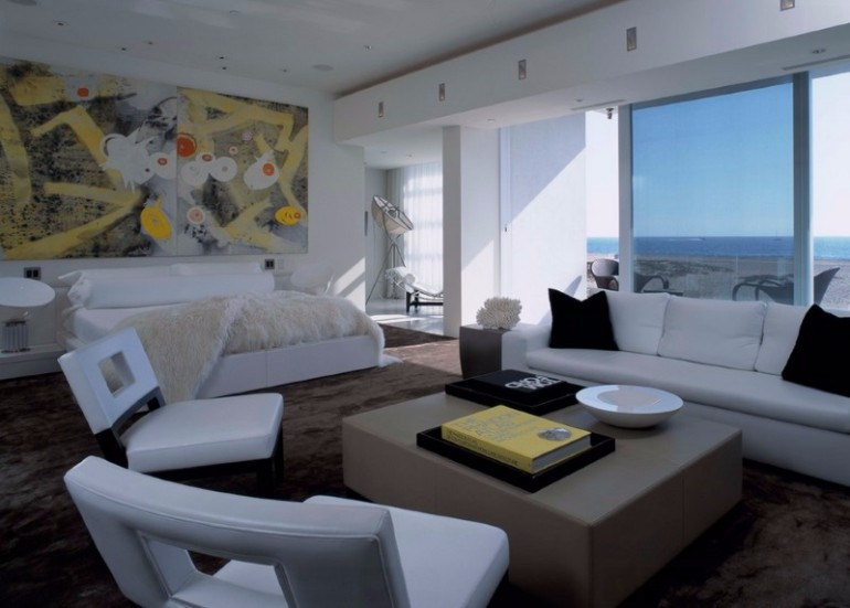 ocean view 50 Dazzling Master Bedrooms With An Ocean View Artistic modern bedroom with a seating area