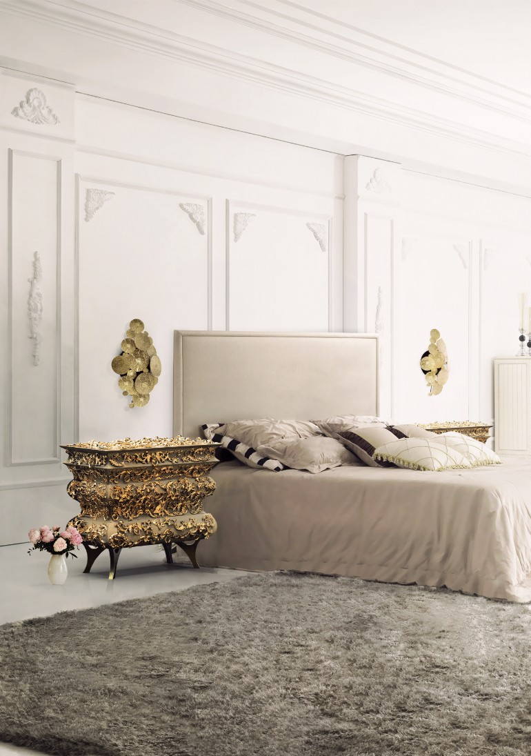 crochet nightstand newton wall lamp boca do lobo master bedroom master bedroom Stunning Master Bedrooms with Gold Accents Crochet Nightstand Boca do Lobo 1