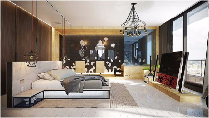 cool bedroom 10 Cool Bedrooms Sure To Make You Smile Het ontwerp van de moderne slaapkamer met geweldige hanglamp