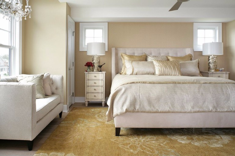 master bedroom Stunning Master Bedrooms with Gold Accents bernhardt interiors for a transitional bedroom with a rugs gold and interior design avon by sea nj by robert legere design