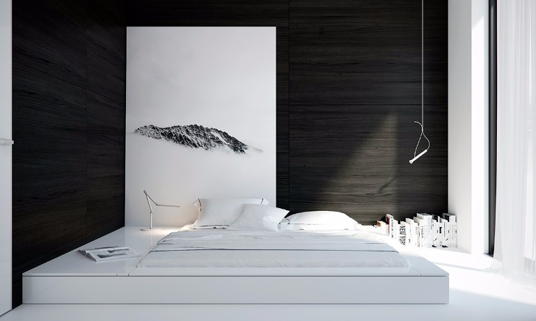 Black and White bedroom design Black and White Bedroom Sleek and Modern Black and White Bedroom Ideas blending futon black and white furniture