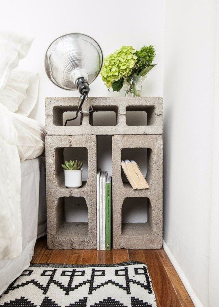 nightstands nightstands Surprising items re-purposed as innovative Nightstands concrete bedside table