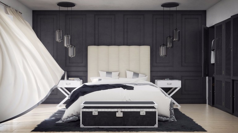 sleek and modern black and white bedroom ideas master