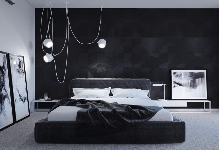 black and white bedroom sleek and modern black and white bedroom ideas hanging lights black and - Black And White Bedroom Ideas