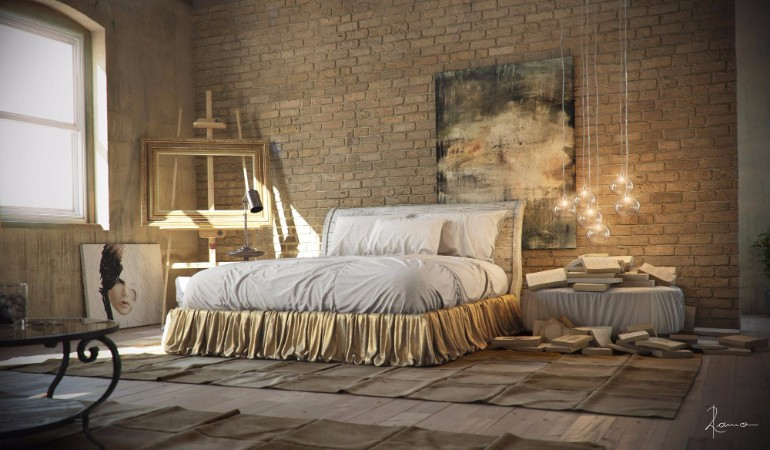 industrial bedroom 10 Phenomenal Industrial Bedroom Designs industrial bedroom design gold tones 1