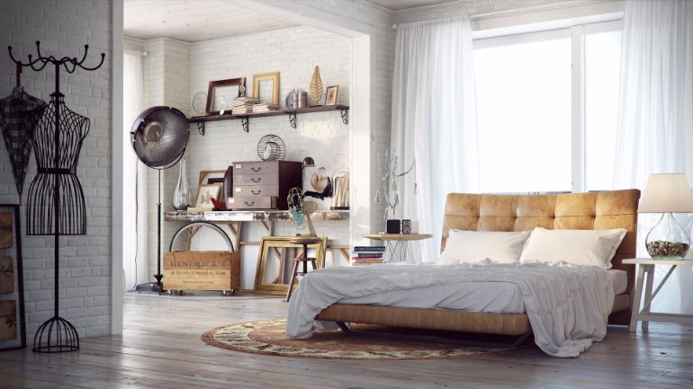 industrial bedroom 10 Phenomenal Industrial Bedroom Designs industrial bedroom design with white tones