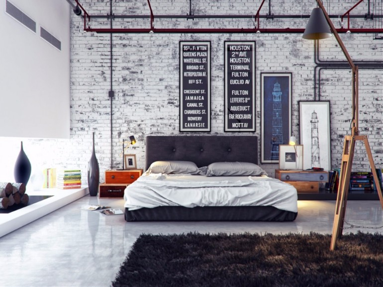 industrial bedroom industrial bedroom 10 Phenomenal Industrial Bedroom Designs industrial style brick wall