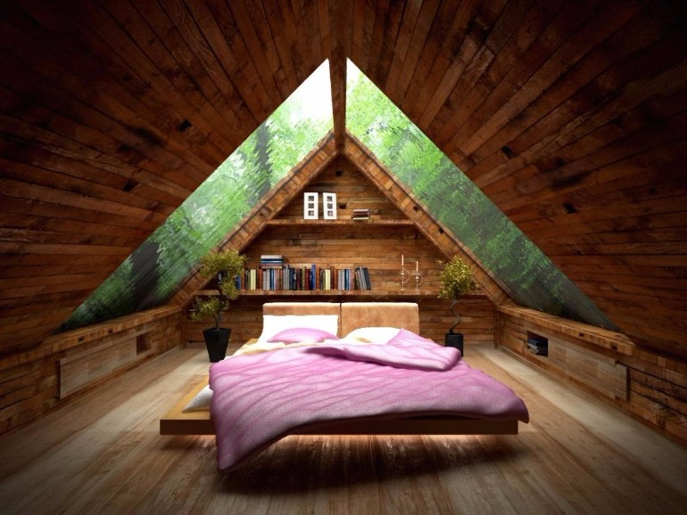 attic bedroom 12 Masterfully Decorated Attic Bedrooms low vaulted ceiling bedroom linoleum pillows piano lamps