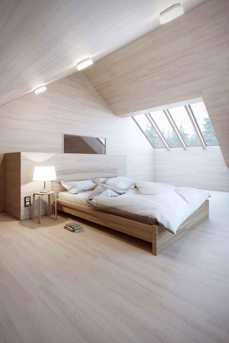 attic bedroom 12 Masterfully Decorated Attic Bedrooms minimalist loft bedroom space designed with simple wooden bed within minimalist bedroom loft pertaining to home