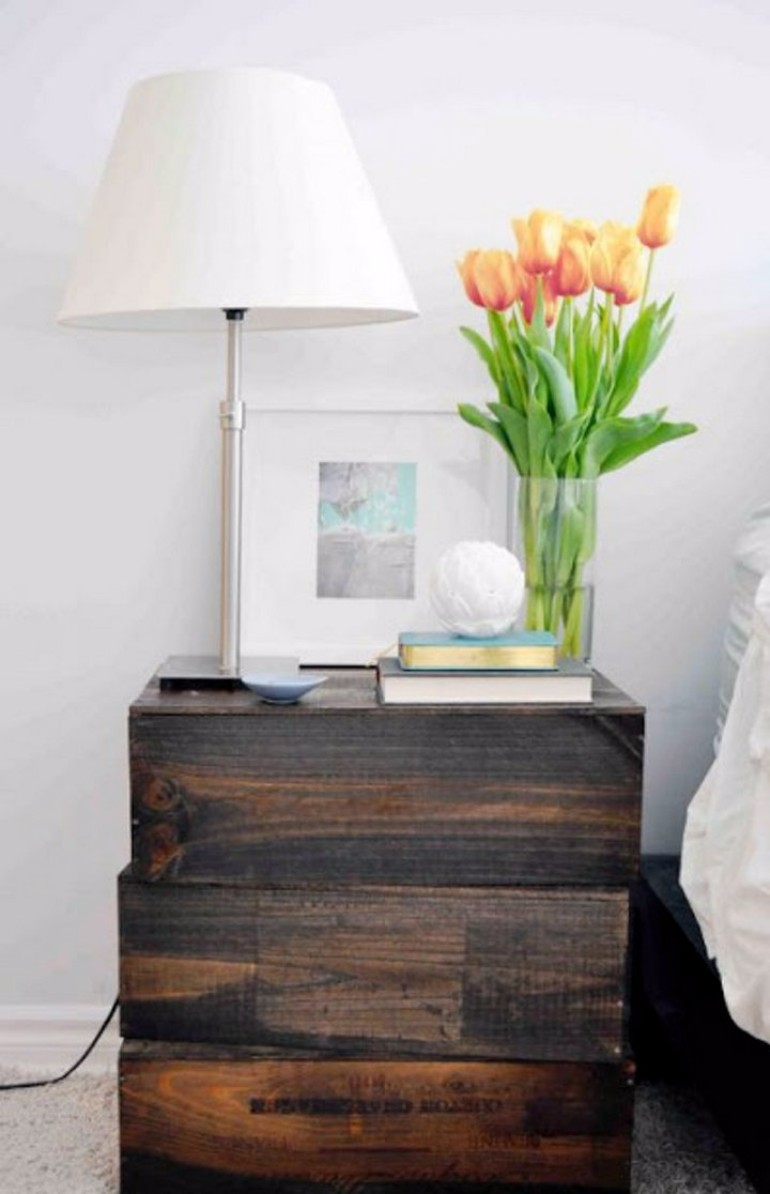 nightstands Surprising items re-purposed as innovative Nightstands wooden wine box original nightstand masterbedroomideas