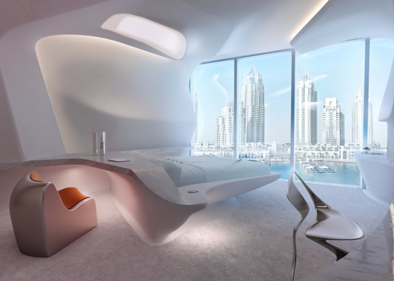 zaha hadid zaha hadid Modern Bedroom Inspirations by Zaha Hadid ME Dubai Hotel Bedroom Zaha Hadid luxury bedroom hotel design master bedroom ideas