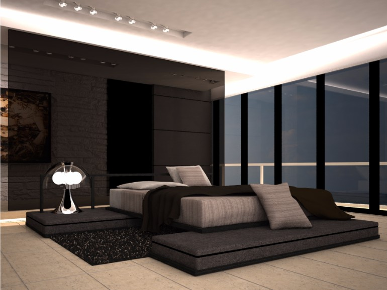 master bedroom 10 Sleek and Modern Master Bedroom Designs black shades and grey tones modern dark master bedroom design inspiration ideas luxury design