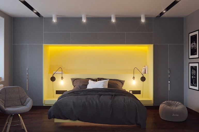 Grey master bedrooms with a glimpse of color master bedroom ideas Master bedroom with yellow walls