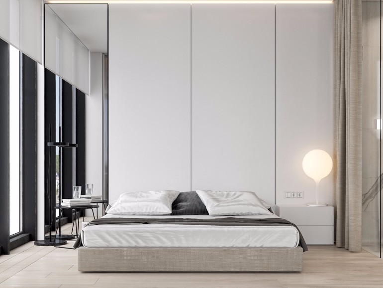 simple bedroom design 10 Gracious Yet Simple Bedroom Designs Bachelor pad bedroom low lying furniture three white wooden panels open windowed simple minimalistic bedroom design concept