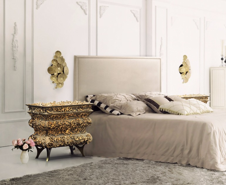 Master Bedroom Bling With Golden Nightstands Master Bedroom Ideas