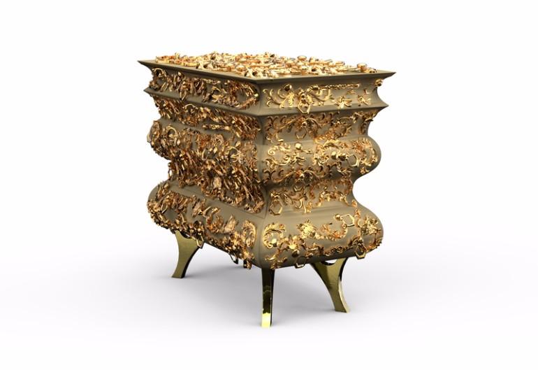 golden nightstand Master Bedroom Bling with Golden Nightstands Crochet Nightstand Boca do lobo golden nightstand design inspiration ideas modern master bedroom design