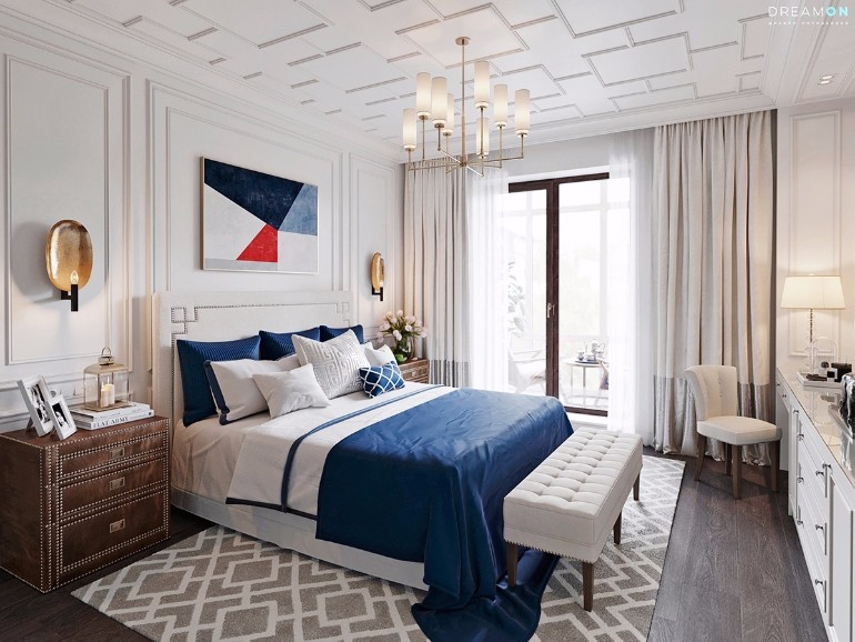simple bedroom design 10 Gracious Yet Simple Bedroom Designs Nationalistic theme bedroom blue red and white olden brown draw set inspired bedroom design blue classic bedroom inspiration ideas