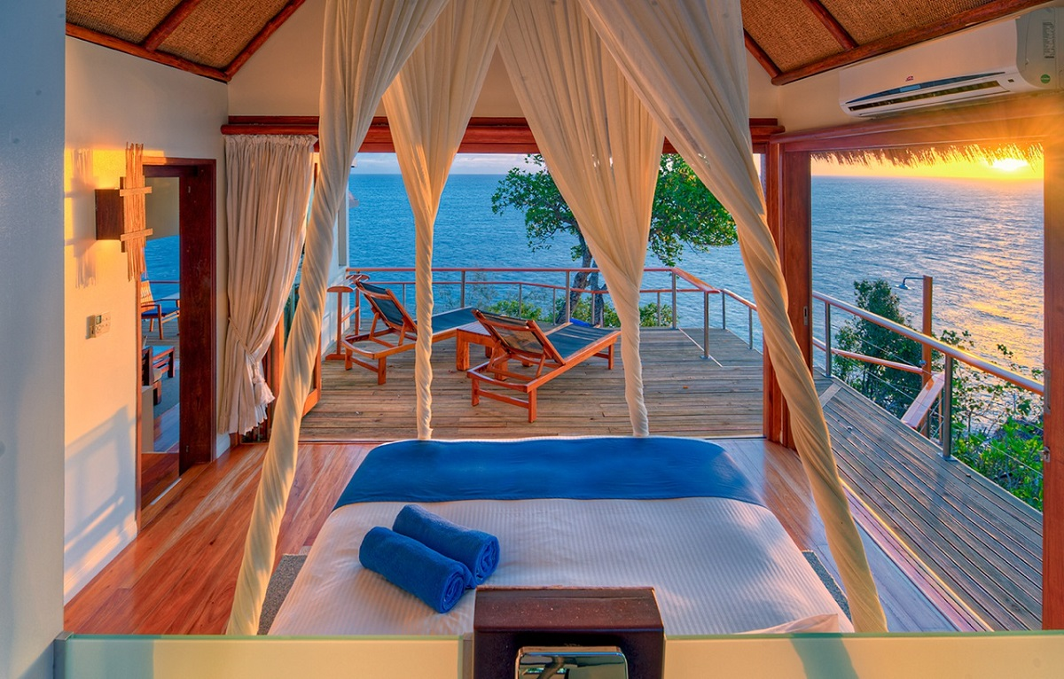dream bedroom Dream bedrooms from all around the world Pt II Royal Davui Island fiji gorgeous tropical bedroom spacious sun desk romantic open air bed 2017