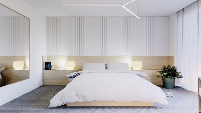 simple bedroom design 10 Gracious Yet Simple Bedroom Designs Swedish style bedroom IKEA inspired light wood minimal panel detailing scandinavian bedroom minimalist bedroom inspiration master bedroom idas