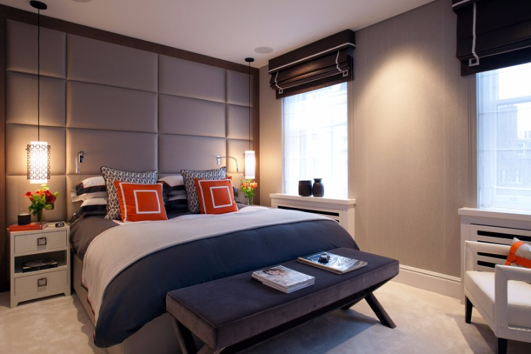bedroom design Bedroom Designs by Top Interior Designers: TAYLOR HOWES Taylor Howes Ennismore Garden Modern bedroom design touch of orange contemporary decor