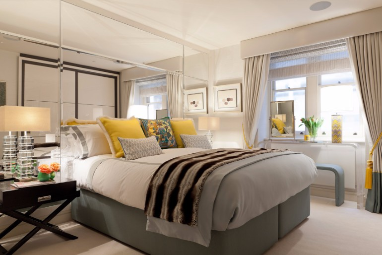 bedroom design Bedroom Designs by Top Interior Designers: TAYLOR HOWES Taylor Howes South Street Mayfair yellow grey bedroom inspiration ideas modern master bedroom decor master bedroom design