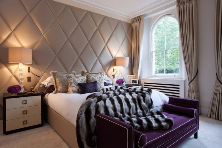 bedroom design Bedroom Designs by Top Interior Designers: TAYLOR HOWES Taylor Howes purple sofa bedroom beautiful patterned rug bedroom decor ideas master bedroom concept bedroom design