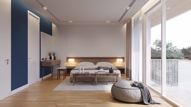 simple bedroom design 10 Gracious Yet Simple Bedroom Designs Undertone overtone bedroom navy and beige feature walls and panels luminous simple bedroom design ideas