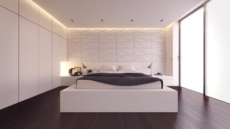 simple bedroom design 10 Gracious Yet Simple Bedroom Designs White and grey bedroom textured feature wall charcoal duvet breaks the white master bedroom ideas modern inspiration bedroom design