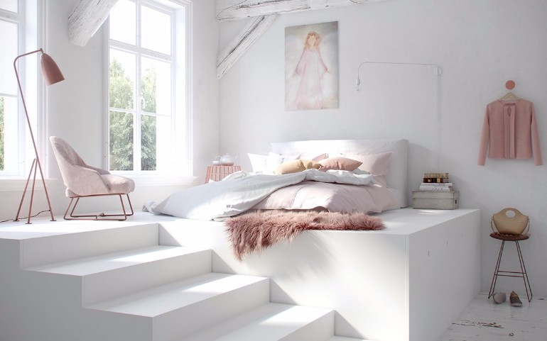 simple bedroom design 10 Gracious Yet Simple Bedroom Designs White bedroom pink elements fluffy fur rug pink standing lamp boudoir feel pastel bedroom colors bedroom inspiration design