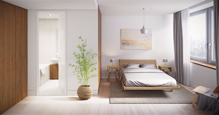 simple bedroom design simple bedroom design 10 Gracious Yet Simple Bedroom Designs Zen inspired watercolour bedroom muted hues water colour painting little leaved trees oriental themed bedroom inspiration ideas modern design