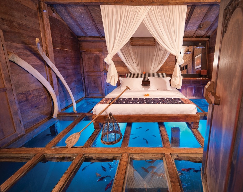 dream bedroom Dream bedrooms from all around the world Pt II bambu indah java glass floored bedroom underwater views plush bed rustic decor