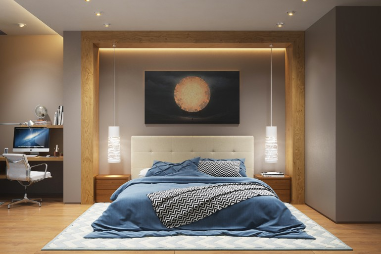 lighting design lighting design Stunning Bedrooms with Unique Lighting Designs beautiful blue pendant lamps modern bedroom decor wooden walls modern bedroom inspiration mid century design