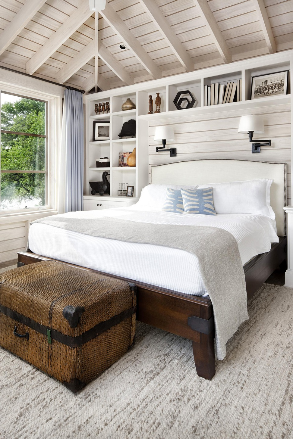 cozy bedroom Cozy Bedroom Décor in Farmhouse Style beautiful white brown wood glass simple design interiors and homes bedroom mattres bed cushion windows display cabinet sui country interiors design interior design minimali
