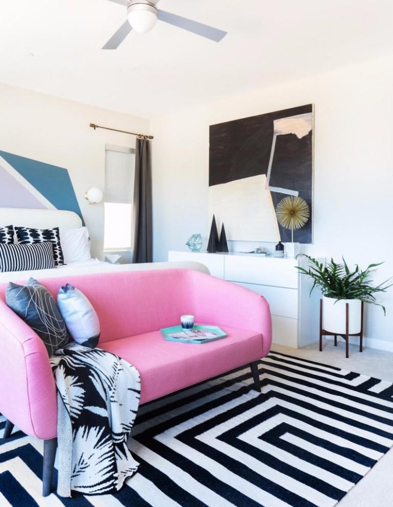 master bedroom Design Project: Modern Master Bedroom by Orlando Soria bedroom pink sofa master bedroom design ideas black and white rug modern master bedroom inspiration decor