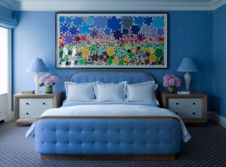 color palette Vivid Color Palettes for your Bedroom blue bedroom design floral motifs master bedroom ideas modern bedroom design concept