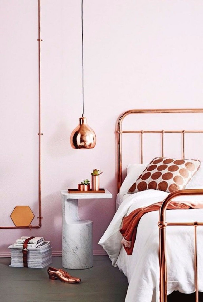 color palette Vivid Color Palettes for your Bedroom copper bedroom decor ideas modern bedroom pendant lamp master bedroom design bedroom inspiration