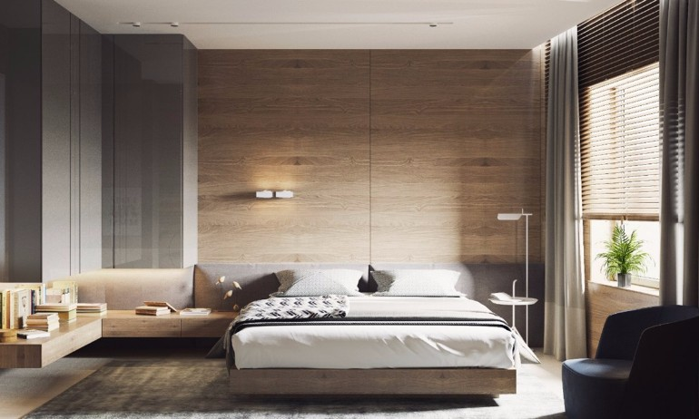 master bedroom Master Bedrooms with Striking Wood Panel Designs gorgeous modern bedroom design inspiration wood walls wood pannels master bedroom ideas modern bedroom decor